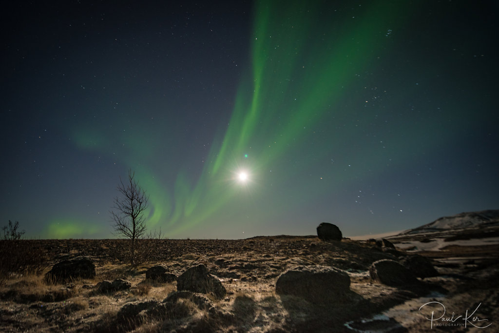 super moon and the aurora borealis in Iceland